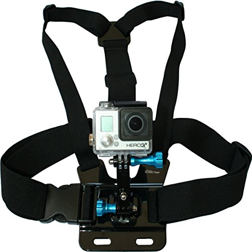 Chest Mount Harness for GoPro Cameras - Adjustable Body Strap Rig + 3-Way Adjustment Base with Aluminum Thumbscrew Kit - Fits All Go Pro Hero Models, HERO4, HERO3+ Black Edition - 1 Year Warranty