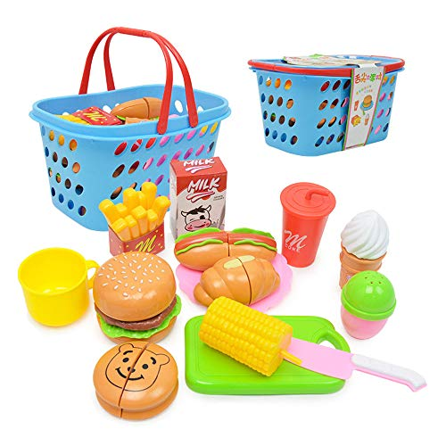 volbaby Burger Toy Set Pretend Play Food Set, Cutting Toy Set with Hamburger Hotdog Fries Ice Cream, Children Simulation Food Play Food Kitchen Toys Pretend Role Play Toys for Kids Boys Girls