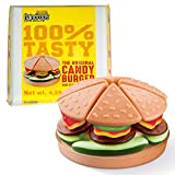 Raindrops Gummy Candy Hamburger with 22 Gummy Candies - Yummy Gummy Food Looks Just Like a Burger - 4.6 Ounces of Gummy Buns, Meat Patties, Sauce, Veggies and More - Unique and Edible Gift