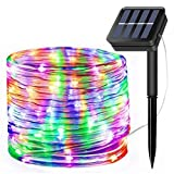 LiyuanQ Solar String Lights Outdoor, Updated 100 LED Solar Rope Lights Outdoor Waterproof Fairy Lights 8 Modes Silver Wire Light PVC Tube String Light for Garden Fence Party Wedding Decor (Multicolor)
