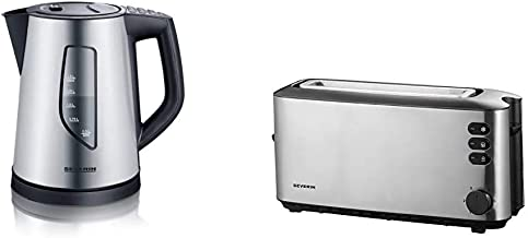 SEVERIN WK 3342 Wasserkocher mit 4 Temperatureinstellungen ca. 2.200 W, 1,5 L edelstahl/schwarz & AT 2515 Automatik-Toaster 1.000 W, 1 Langschlitzkammer, Für bis zu 2 Brotscheibenedelstahl/schwarz