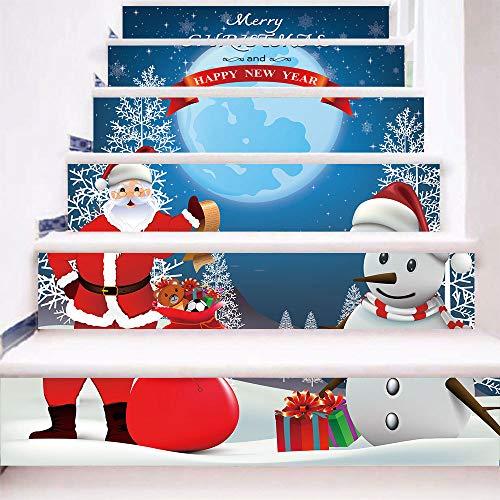 QWEN Weihnachts-Treppenaufkleber Santa Claus Sendet Geschenke An Schneemann Traditionelle Festival Schritte Dekoriert 18X100Cmx6Pcs