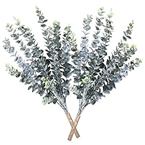 Ollain Artificial Plants 2 Pcs Faux Eucalyptus Leaves Spray Artificial Greenery Stems Fake Flowers Branches Plant Tall for Greenery Wedding Jungle Theme Party Garden Decor