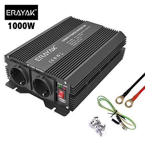 ERAYAK Wechselrichter 1000W (Spitzenleistung 2000W), Spannungswandler, Power Inverter, KFZ Stromwandler, 12v auf 230v Inverter, mit 2 AC-Steckdosen und 5V 2.1A USB.
