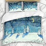 Juegos de Fundas nórdicas Azul frío Escena Nocturna de Invierno Árboles de Nieve Parques de Nubes Navidad Noche púrpura Aventura Ropa de Cama de Microfibra con 2 Fundas de Almohada