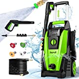 Suyncll Pressure Washer, Electric Power Washer, 1800W High Pressure Washer, Professional Washer Cleaner, with 4 Nozzles, Soap Bottle and Hose Reel, Best for Cleaning Cars,Driveways,Patios