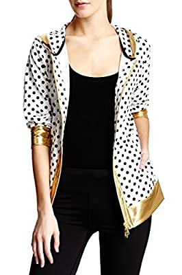 Isaac Mizrahi Women's Sport Poka Dot Hoodie Jacket - White/Black