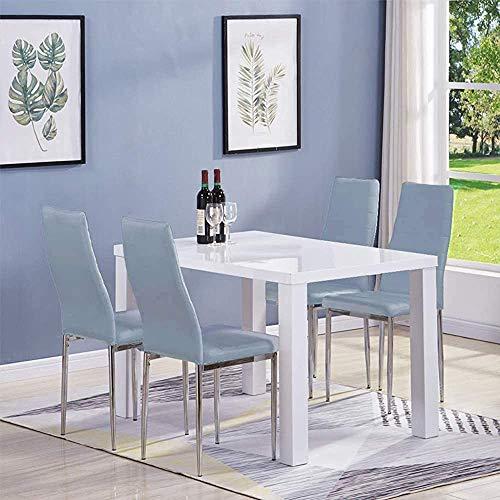 Mesa alta brillo y otomana de cuero, mesa de la cocina comedor baño,Grey