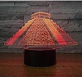 3D Pirámide 7 color noche luz LED visual estéreo táctil ahorro de energía lámpara de mesa protección ojos