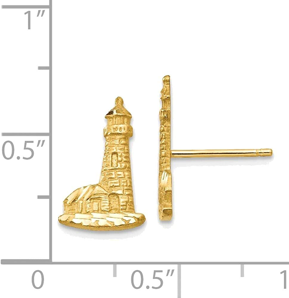 Diamond-cut Lighthouse Earrings in 14K Yellow Gold