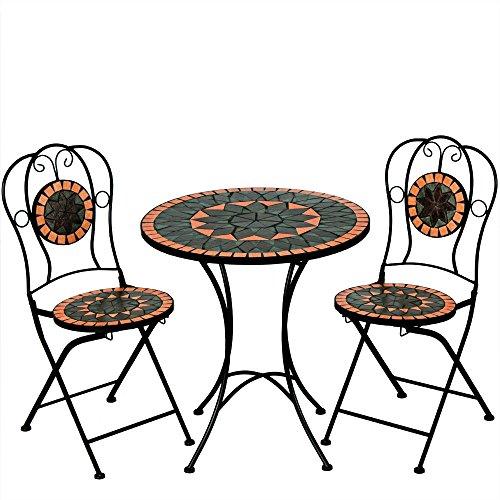 Deuba Conjunto de muebles de jardín Mosaico Terracotta set de mesa y sillas plegables terraza patio metal diseño moderno
