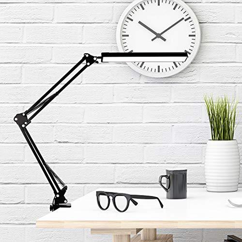 Lámpara de Escritorio LED,12W Lámpara de Mesa Abrazadera Brazo Oscilante Luz Regulable...