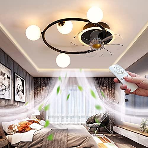 LED Plafon de Techo Negro Silenciosos Ventiladores de Techo con Control Remoto y App 40W Regulable Moderna Fan Lámpara Colgante para Dormitorio Salón 3 Velocidades Luz del Ventilador Ø55CM