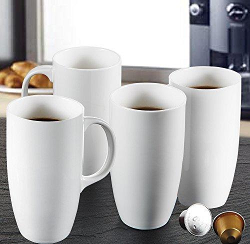 """Panbado 2-teilig Große Kaffeetassen aus Weiß Porzellan, 550 ml Tassen Set, 5\"""" Kaffeepott, Becher, Teetassen"""