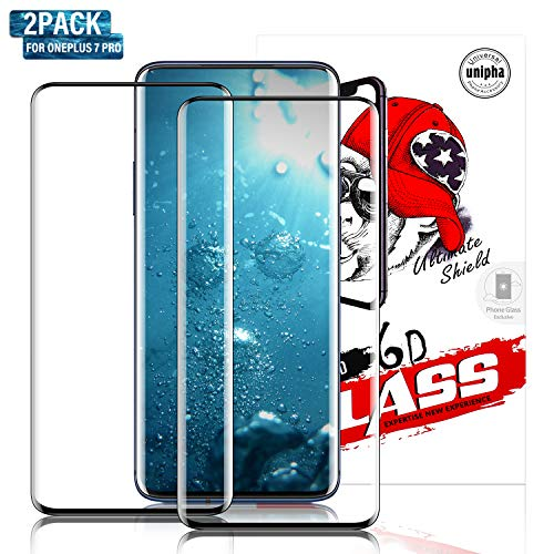 Gozhu [2-Pack] OnePlus 7 Pro Tempered Glass Screen Protector,Fingerprint Scaner 3D Liquid Clear Full Curved Edge Case Friendly Anti-Scratch Coverage for OnePlus 7 Pro