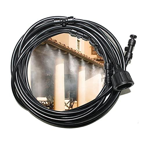 Blupure Sistema de enfriamiento por nebulización 7M Línea de nebulización +6 boquillas de neblina de latón, Sistema de Riego Refrigeración por Nieblas de para Trampolín de Invernadero