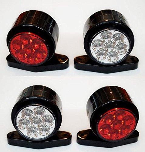4 X côté Outline 12 V feux de gabarit lamps van Camion caravane Châssis pour camping-car Blanc Rouge