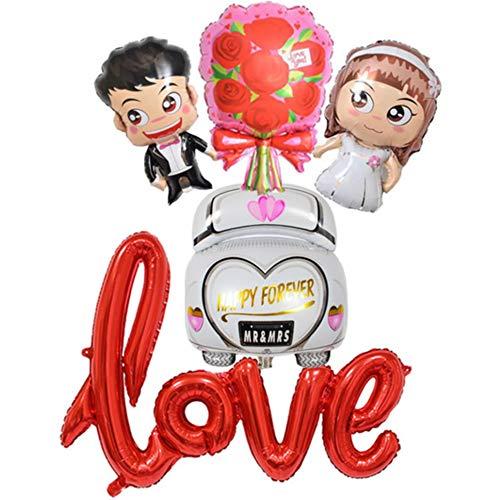 DIWULI, Hochzeit 5 Teile Ballon-Set, Mr and Mrs Ballon + Love Ballon + Blumenstrauß Ballon + Auto Folien-Ballon, Just Married, Wedding, Hochzeits-Deko, Hochzeitsfeier, Hochzeitstag, Dekoration, Liebe