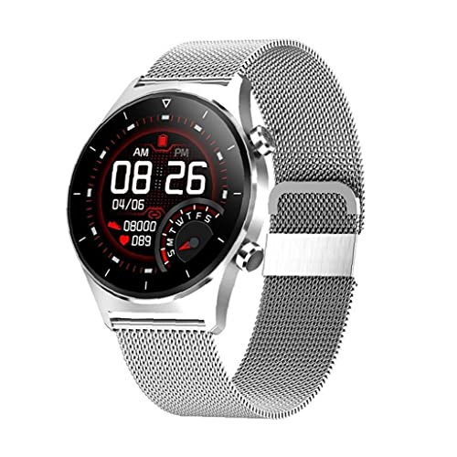 Naisedier Reloj Inteligente Pantalla Redonda Reloj de Pulsera GPS Soporte podómetro Pulsera de Acero Inteligente Plata Muy cómoda para Usar
