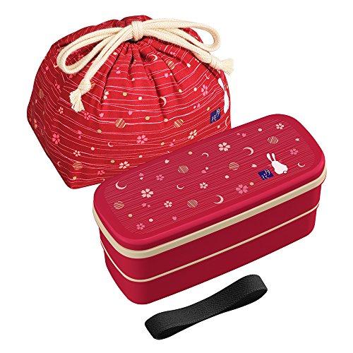 OSK PW-28C - Juego de caja bento tradicional japonesa, diseño de conejo y luna, versión renovada, apto para microondas y lavavajillas, incluye palillos y bolsa Bento, color rojo