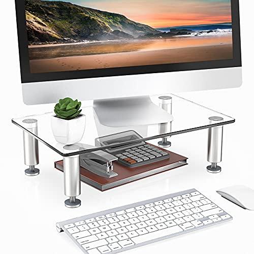 FITUEYES Supporto per Monitor in Vetro Trasparente Altezza Regolabile Supporto per PC Schermo e Computer Portatile 38,5x24x7,6cm DT103801GC