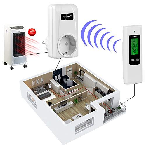 revolt Funk Temperaturschalter: Steckdosen-Thermostat mit mobiler Steuereinheit für Heiz- & Klimagerät (Temperaturschalter Steckdose)