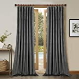 StangH Grey Velvet Curtain Panels - Thick Plush Velvet Blackout Drapes, Back Tab Design Insulated Window Covering for Living Room/French Door, W52 x L96 Per Panel, 2 Pcs