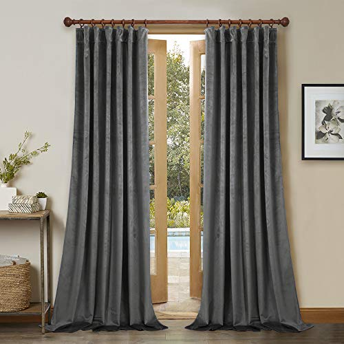 StangH Velvet Curtains 108 Inches Long - Classical Grey Blackout Curtains for Living Room Large Window Thermal Insulated Panels for Living Room/Basement, W52 x L108 Each Panel, 2 Pieces