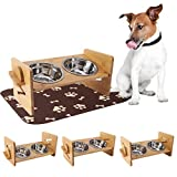 EXPAWLORER Pet Raised Bowls for Dogs and Cats - with Highly Absorbent Waterproof Dog Food Mat - Adjustable Bamboo Elevated Stand Feeder with 2 Stainless Steel Bowls