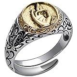 Beydodo 925 Silber Ring für Herren Buddhist Hand Freundschaftsringe Partner Ring Gr.47 (15.0)-56 (17.8)