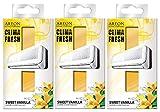 Areon Clima Fresh Ambientador Dulce Vainilla Casa Aire Acondicionado Original Olor Amarillo Hogar Salón Oficina Tienda ( Sweet Vanilla Pack de 3 )