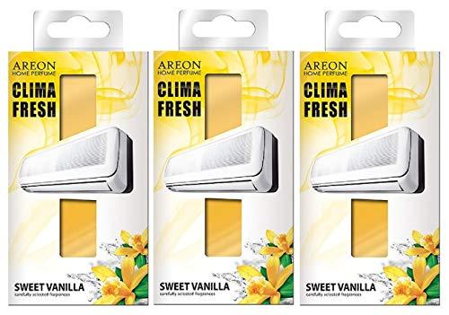 Areon Clima Deodorante Ambiente Dolce Vaniglia Filtri Condizionatori Profumati Casa Giallo ( Sweet Vanilla Set di 3 )