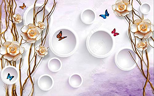 Wallpaper 3D Wallpapers for Walls Mural Flowers, Butterflies, Branches Wall Murals for Bedrooms and Living Room Tv Background Wall Mural Decoration Art 350cmx256cm