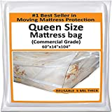 Mattress Bags for Moving Queen -Mattress Storage Bag - 5 Mil Heavy-Duty - Thick Plastic Bed Mattress Cover...