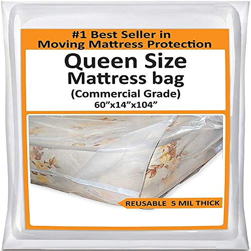 Mattress Bags for Moving Queen -Mattress Storage Bag - 5 Mil Heavy-Duty - Thick Plastic Bed...