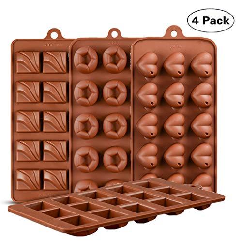 KBstore 4 Pièces Moule à Chocolat - Forme de Coeur et Carré Moules en Silicone pour Bonbon/Glace/Mini Savon Gelée #2