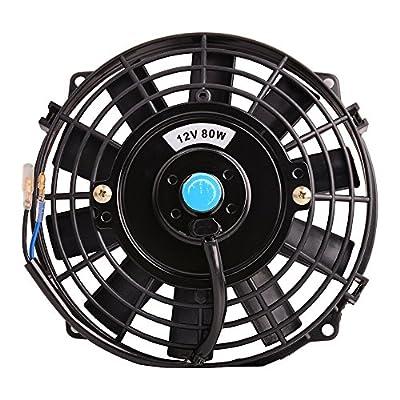 "Universal Slim Fan Push Pull Electric Radiator Cooling Fans 12V 80W Engine Fan with Mount Kit ?Diameter 8.27"" Depth 2.56"")"