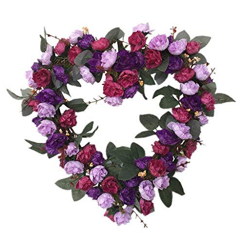 Cgration Künstliche Blumen Herzförmiger Rosenkranz Frühlingskranz Outdoor für Haustür Wand Fenster Party Hochzeit Dekor