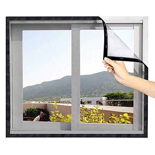 Loboo Idea Fiberglass Window Screen Netting Mesh Curtain, DIY Self-Adhesive Window Net Screen with Hook and Sticky Tape, Fitted to Multiple Windows (150x180cm, Black)