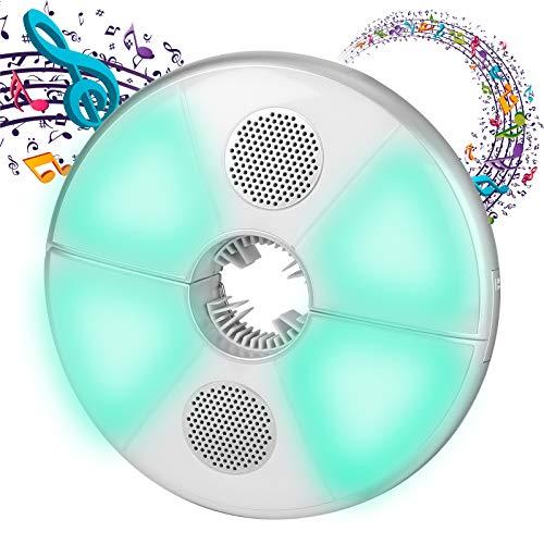 Lampada ombrellone, 64 LED Lampada senza fili per ombrellone da giardino con Bluetooth 3.0 Speaker audio USB ricaricabile sorridente per tenda di campeggio, ombrellone o sul ramo di albero