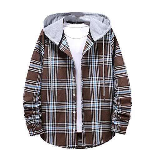 DADGS Mode Casual Street Couple Shirt Hooded Plaid Herren Langarm Frühling Herbst Shirt Oversize Gr. M, Ka Fei Se
