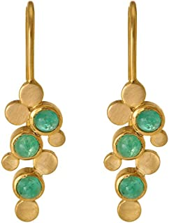 Gehna Yellow Gold and Emerald Drop Earrings for Women (GHCSER-706)