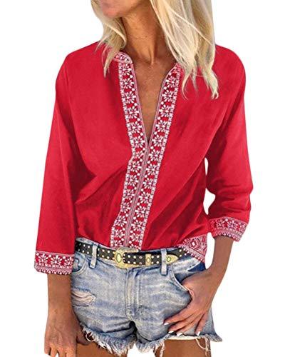 Minetom Camiseta Básica Mujer Vintage Bohemio Blusa Manga Corta Cuello en V Estampado Blusas de Fiesta Oficina Playa Vacaciones Verano Boho T-Shirt Tops