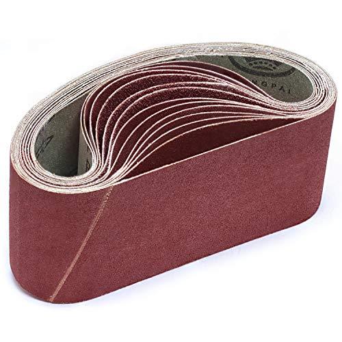 KONGMING Bandas de lijado, 75 x 457 mm 80 120 150 240 400 Bandas de lijado de grano grueso fino para lijadora de banda (15 piezas)