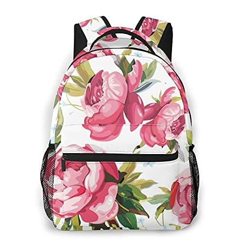 AOOEDM Mochila para hombres, mujeres, hermosas flores de peonía, mochilas informales, mochilas, bandolera de viaje