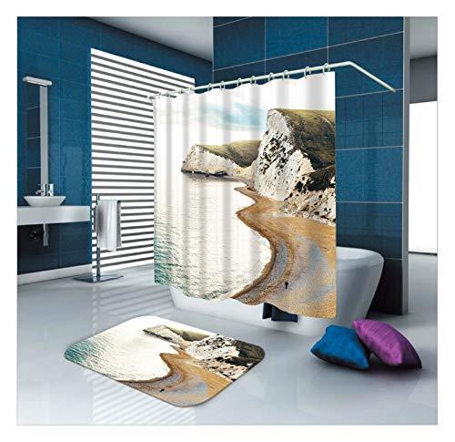 Aeici Tapis de Bain 40X60 et Rideau de Douche 180X180CM Rideau Douche Anti Moisissure Textile Montagne Plage Mer Bleu Marron Vert