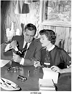 Raymond Burr 8 x 10 Photo Barbara Hale from Perry Mason B&W Photo at desk