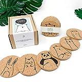 PepMelon - CODE33001 - Cutes - Kork Untersetzer, rund, 6er Set, Glas Untersetzer-Set, Design Küchenzubehör mit Tiermotive - umweltfreundliche Geschenke basteln Mädchen Bastelset Kinder