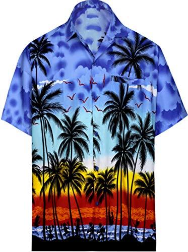 LA LEELA Camisa hawaiana de manga corta para hombre - Azul - X-Small