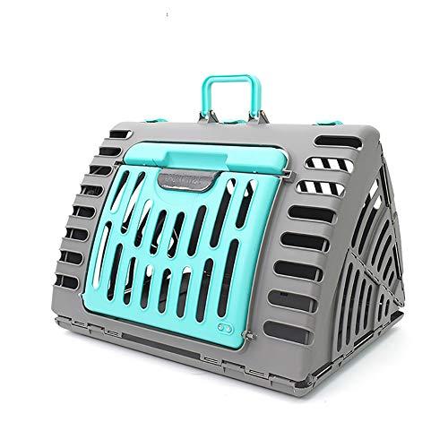 Tragbarer klappbarer Katzenkäfig - Haustür Kunststoff-Katzenträger Transportbox für Haustiere Tragbarer, atmungsaktiver Autokäfig Großer Katzenkäfig,Grün